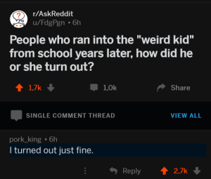 """me_irl by Surymy FOLLOW HERE 4 MORE MEMES.: 2  r/AskReddit  People who ran into the """"weird kid""""  from school years later, how did he  or she turn out?  1,0k  Share  SINGLE COMMENT THREAD  VIEW ALL  pork_king 6h  l turned out just fine.  Reply  2.7k me_irl by Surymy FOLLOW HERE 4 MORE MEMES."""