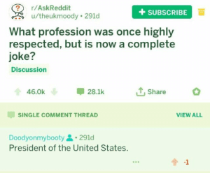 United, Single, and Askreddit: 2 r/AskReddit  +SUBSCRIBEa  u/theukmoody 291d  What profession was once highly  respected, but is now a complete  joke?  Discussion  46.0k  28.1k  Share  SINGLE COMMENT THREAD  VIEW ALL  Doodyonmybooty291d  President of the United States.  -1