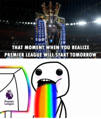 that moment when you realize: 2  THAT MOMENT WHEN YOU REALIZE  PREMIER LEAGUE WILL START TOMORROW  Premier  League