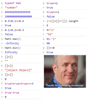 "Javascript is Good!: 2 typeof NaN  • ""number""  2 true==1  • true  > true===1  > 9999999999999999  • false  « 10000өөөе0eeee  > 0.5+0.1==0.6  > (!+[]+[]+! []).length  • true  2 0.1+0.2==0.3  > 9+""1""  • ""91""  <• false  > Math.max()  2 91-""1""  « -Infinity  > Math.min()  <• Infinity  • 90  > []==0  <• true  > []+[]  2 []+{}  « ""[object Object]""  2 {}+[]  > true+true+true===3  <• true  Thanks for inventing Javascript  > true-true  wan Javascript is Good!"