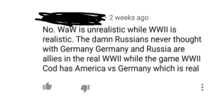 America, Soldiers, and The Game: 2 weeks ago  No. WaW is unrealistic while WWII is  realistic. The damn Russians never thought  with Germany Germany and Russia are  allies in the real WWII while the game WWlI  Cod has America vs Germany which is real Pfft, yeah the Soviets totalllyyyy never *thought* the germans, yeah thats totalyy not the death place of probably 30 million soldiers and civillians, and they were totallyyy allies with each other (at least until 1941)