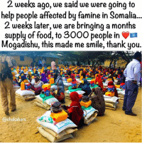 Children, Food, and Love: 2 weeks ago, we said we were going to  help people affected by famine in Somalia...  2 weeks later, we are bringing a months  supply of food, to 3000 people in  Mogadishu, this made me smile, thank you.  @chakabars Tag everyone, this is the stuff that should go viral!! This is amazing... ❤ but this is just the start. On hearing about the famine in Somalia, the Lovearmy (people of the world) united to help convince @turkishairlines to provide us with a plane, to fill with food & water. The people responded beautifully, turkishairlineshelpsomalia was born and they were kind enough to say yes! Then we had to raise money to fill the plane ✈️ lovearmyforsomalia was born & in less than 24 hours the people gave $1 million and continued to give... We studied, we learned and we grew. We figured out a massive mistake that many people make when trying to help, is to import food that you can source locally. So we adapted. We are spending all the money on locally sourced food (a small portion has been spent on special food for malnourished children) & water. We aim to get a necessary supply of food and water the Somali people, in different locations across Somalia 🇸🇴 This for us is necessary right now. Much respect to all of those who care and who gave, we are making sure that your love continues to spread. Respect and love always lovearmyforsomalia 💪🏿💪