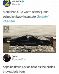 Dank, El Chapo, and Flexing: 2  WSB-TV  @wsbtv  More than $1M worth of marijuana  seized on busy interstate: 2wsb.tv/  2AjNJh4  DANK  MEMEOtOGY  IAL 9  SHERIF  Quinn  @_KayleeTho  cops be flexin just as hard as the dudes  they stole it from They trying to flex like el chapo • 👉Follow me @no_chillbruh for more