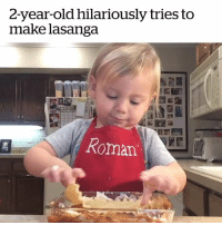 Chef, Video, and Amazing: 2-year-old hilariously tries to  make lasanga  Roman This 2 year old chef is so amazing! 😍👨🍳  Many thanks to Ayla Jalyn for the adorable video