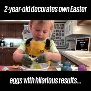 Even when things don't go to plan, this kid is the most positive chef in the world! 🙌🥚: 2-year-olddecorates own Easter  ROMANS COOKING CORNER  MENU  EASTER  EGOS  AYLAJALYN  eggs withnilariousresults... Even when things don't go to plan, this kid is the most positive chef in the world! 🙌🥚