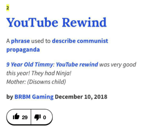 youtube.com, Good, and Ninja: 2  YouTube Rewind  A phrase used to describe communist  propaganda  9 Year Old Timmy: YouTube rewind was very good  this year! They had Ninja!  Mother: (Disowns child)  by BRBM Gaming December 10, 2018  29 o me irl