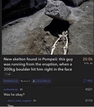 Okay, Running, and Pompeii: 20.0k  97% 4h  New skelton found in Pompeii: this guy  was running from the eruption, when a  300kg boulder hit him right in the face  982  Wollthatsucks ansa.it alShot Marvin  4521  jacksonbros 3h  Was he okay?  2115  down vote magnet 3h Was he ok?