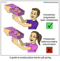 20/100  Anti FemComics  L Inclusionary  progressive  open mindedness  Problematic  heteronormative  indoctrination  A guide to social-justice-warrior gift giving