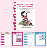 """Life, Memes, and Book: 20  22  23  GET IT TOGETHER!  WITH SARAH'S SCRIBBLES  D 16 MONTH WEEKLYMONTHLY PLANNER  SEPTEMBER 2017-DECEMBER 2018  JE SARAH ANDERSEN Hi everyone! I wanted to share with you my new planner, """"Get it Together!"""" since it's finally out!  This is a 16 month Sarah's Scribbles planner that starts in September. It's very special to me because I spent a long time designing it so it would be perfect for the comic strip. Each month has a different color and illustration style, and every week corresponds to a new comic. I picked all of my favorite comics from the last few years–in a lot of ways it's like a mini book you can plan your life around.  There's also stickers that come with the planner, and a pocket to keep papers in! Check it out here: http://amzn.to/2rDCfkD"""
