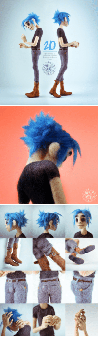 Love, Party, and Shit: 20  @Gorillaz //  Jamie Hewlett  Damon Albarn  23cm  timta. zimthandmade:  I know I'm late again to the party but HOLY SHIT I LOVE GORILLAZ So here's a fully posable needle felted 2D 💕  Murdoc is on the way as well!