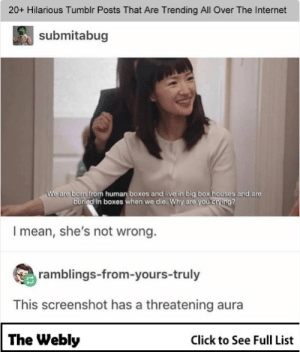20+ Hilarious Tumblr Posts That Are Trending All Over The Internet #viral #memes #funny #funnymemes #ladplus: 20+ Hilarious Tumblr Posts That Are Trending All Over The Internet  submitabug  We are born from human boxes and live in big box houses and are  buried in boxes when we die. Why are you crying?  I mean, she's not wrong.  ramblings-from-yours-truly  This screenshot has a threatening aura  The Webly  Click to See Full List 20+ Hilarious Tumblr Posts That Are Trending All Over The Internet #viral #memes #funny #funnymemes #ladplus