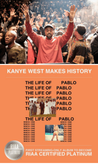 """Kanye, Life, and The Life of Pablo: 20   KANYE WEST MAKES HISTORY  THE LIFE OF  PABLO  THE LIFE OF PABLO  THE LIFE OF PABLO  TH  AC  PABLO  TH  PABLO  TKA  PABLO  THE LIFE OF  PABLO  WHICH ONE  WHICH ONE  WHICH ONE  WHICH ONE  WHICH ONE  WHICH ONE  CHI ONE  WHICH ONE  ACH ONE  WHICH ONE  CHI ONE  WHICH ONE  WHICH ONE  CHIONE  WHICH ONE  ICHI ONE  WHICH ONE.  WHICH ONE  FIRST CERTIFIED PLATINUM  PLATINUM  RIAA Kanye West's """"The Life of Pablo"""" becomes the first streaming-only album to be certified platinum. https://t.co/RN0P9E3pgf"""