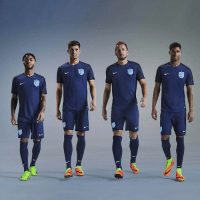 Memes, 🤖, and Kane: 20 MAR: England players Raheem Sterling, John Stones, Harry Kane and Marcus Rashford are pictured wearing the new England Away Kit. England will debut the all-navy strip, featuring a new light blue crest set against metallic silver, for this week's friendly game against Germany in Dortmund. PHOTO: Nike-PA BBCSnapshot football England FA awaykit blue threelions @sterling7 @johnstonesofficial @harrykane @marcusrashford