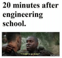 "😂😂: 20 minutes after  engineering  School.  ""I want to go home""  GIF Secco 😂😂"