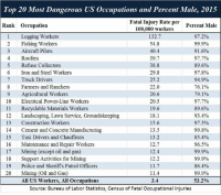 7/11, Anaconda, and Memes: 20 Most Dangerous US Occupations and Percent Male, 2015  Fatal Injury Rate per Percent Male  Top  Rank Occupation  1 Logging Workers  2 Fishing Workers  3 Aircraft Pilots  4 Roofers  5 Refuse Collectors  6 Iron and Steel Workers  7 Truck Drivers  8 Farmers and Ranchers  9 Agricultural Workers  10 Electrical Power-Line Workers  1 Recyclable Materials Workers  12 Landscaping, Lawn Service, Groundskeeping  13 Construction Workers  14 Cement and Concrete Manufacturing  15 Taxi Drivers and Chauffeurs  16 Maintenance and Repair Workers  17 Mining (except oil and gas)  18 Support Activities for Mining  19 Police and Sheriffs Patrol Officers  20 Mining (Oil and Gas)  100,000 workers  132.7  54.8  40.4  39.7  38.8  29.8  25.2  22.0  20.6  20.5  19.6  18.1  15.6  13.5  13.2  12.7  12.4  12.2  11.7  11.4  3.4  97.2%  99.9%  91.6%  97.7%  89.6%  97.8%  94.9%  76.1%  791 %  97.7%  89.6%  93.4%  97.3%  99.8%  85.4%  96.5%  99.9%  99.9%  86.4%  99.9%  53.2%  AIl US Workers, All Occupations  Source: Bureau of Labor Statistics, Census of Fatal Occupational Injuries (GC)