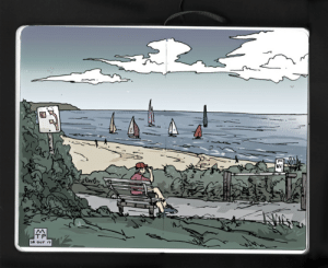 Diary entry from my view at Gulf St. Vincent, Australia, using Ink on paper.: 20 OCT 17 Diary entry from my view at Gulf St. Vincent, Australia, using Ink on paper.