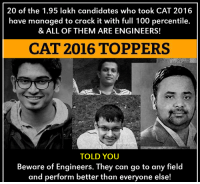 Memes, Cracked, and Candide: 20 of the 1.95 lakh candidates who took CAT 2016  have managed to crack it with full 100 percentile.  & ALL OF THEM ARE ENGINEERS!  CAT 2016 TOPPERS  TOLD YOU  Beware of Engineers. They can go to any field  and perform better than everyone else!