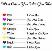 Cute, Funny, and Love: 20  Red-  Pink  Green  Orange  White  Yellow  I Love You  you Are Cute  au Are funnm  Like you  Used tơ Like you  you Ae Uque  συ  0 miss you