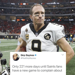 Also... Why does Drew look like a 62 year old clitoris in this photo: 20  Skip Bayless  @RealSkipBayless  Only 221 more days until Saints fans  have a new game to complain about Also... Why does Drew look like a 62 year old clitoris in this photo