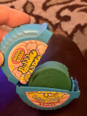 20 years ago my friend got her bubble tape taken away by her dad for not sharing. Today he gave it back to her. It's so old It turned green.: 20 years ago my friend got her bubble tape taken away by her dad for not sharing. Today he gave it back to her. It's so old It turned green.