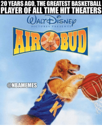 Basketball, Disney, and Memes: 20 YEARS AGO, THE GREATEST BASKETBALL  PLAYER OF ALL TIME HIT THEATERS  PICTURES PRESENTS  @NBAMEMES TAG someone you watched this with! AirBud Disney Basketball