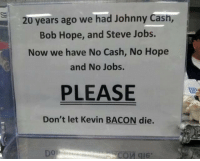 Steve Jobs, Jobs, and Johnny Cash: 20 years ago we had Johnny Cash,  Bob Hope, and Steve Jobs.  Now we have No Cash, No Hope  and No Jobs.  PLEASE  Don't let Kevin BACON die.  Dor