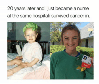 Career goals via /r/wholesomememes http://bit.ly/2RuICGi: 20 years later and i just became a nurse  at the same hospital i survived cancer in.  Nurse Career goals via /r/wholesomememes http://bit.ly/2RuICGi