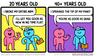 Age limit: 20 YEARS OLD  40+ YEARS OLD  I BROKE MY ENTIRE ARM  I SPRAINED THE TIP OF MY PINKY  LL GET YOU GOOD AS  NEW IN NO TIME FLAT!  YOU'RE AS GOOD AS DEAD  THIS COMIC MADE POSSIBLE THANKS TO ADAM LAVIN  @MrLovenstein MRLOVENSTEIN.COM Age limit
