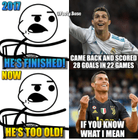 CR7 always comes back! 👀 What do you think? 👇 Follow @Footy.Base ✅: 200  @Foot  y Base  OU  CAME BACK AND SCORED  28 GOALS IN 22 GAMES  IF YOU KNOW  HESTOOOLDWHAT IMEAN CR7 always comes back! 👀 What do you think? 👇 Follow @Footy.Base ✅