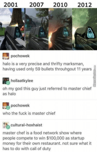 When non-fans discuss video games...: 2001 2007  2010  2012  2B  32  pochowek  halo is a very precise and thrifty marksman,  having used only 59 bullets throuhgout 11 years  hollaatkylee  oh my god this guy just referred to master chief  as halo  pochowek  who the fuck is master chief  cultural-hoxhaist  master chef is a food network show  where  people compete to win $100,000 as startup  money for their own restaurant. not sure what it  has to do with call of duty When non-fans discuss video games...