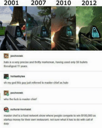 This hurts..: 2001  2007  2010  2012  2B  a2  pochowek  halo is a very precise and thrifty marksman, having used only 59 bullets  throuhgout 11 years  hollaatkylee  oh my god this guy just referred to master chief as halo  pochowek  who the fuck is master chief  cultural-hoxhaist  master chef is a food network show where people compete to win $100,000 as  startup money for their own restaurant. not sure what it has to do with call of  duty This hurts..