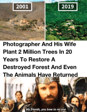 Photo quality didnt change.: 2001  2019  Photographer And His Wife  Plant 2 Million Trees In 20  Years To Restore A  Destroyed Forest And Even  The Animals Have Returned  RIXS  LORdNGS  Shzeporiang  My friends, you bow to no one  IR  203 Photo quality didnt change.