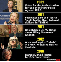 """Donald Trump, Isis, and Iraq: 2002  horization  Votes for the Authorization  for Use of Military Force  Against IRAQ.  2011  OWMENT  Facilitates sale of F-15s to  Saudi Arabia. Used to bomb  civilians in YEMEN  NTERNATION  2011  Destabilizes LIBYA. Brags  about killing Muammar  Gaddafi.  2012  Arms and equips """"rebels""""  in SYRIA. Weapons flow to  jihadists.  2016  Blames Donald Trump  for ISIS recruitment.  CONSERVATIVE  PUNA"""
