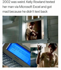 Memes, Microsoft, and Microsoft Excel: 2002 was weird. Kelly Rowland texted  her man via Microsoft Excel and got  mad because he didn't text back @pubity for the win! 😂😂😂