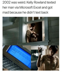 "Memes, Microsoft, and Microsoft Excel: 2002 was weird. Kelly Rowland texted  her man via Microsoft Excel and got  mad because he didn't text back <p>It was a good year via /r/memes <a href=""http://ift.tt/2CovWcS"">http://ift.tt/2CovWcS</a></p>"