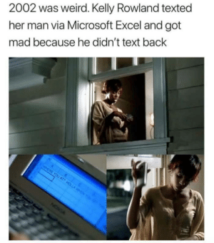 Microsoft, Microsoft Excel, and Weird: 2002 was weird. Kelly Rowland texted  her man via Microsoft Excel and got  mad because he didn't text back It was a good year (imgur.com)