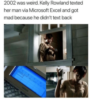 Dank, Microsoft, and Microsoft Excel: 2002 was weird. Kelly Rowland texted  her man via Microsoft Excel and got  mad because he didn't text back  A  WHERE YOU AT7 HOLLA ENY  NOWA