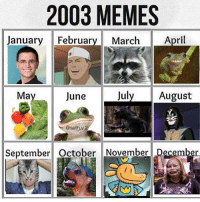 Memes, April, and 🤖: 2003 MEMES  Jy March April  anuary Februar  Ma  June  July August  @seth.v  September October November Decem 2003 ah yes.