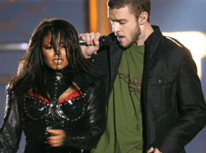 (2004) Singer Justin Timberlake shows his chivalry by kindly helping Janet Jackson end her Super Bowl Halftime show: (2004) Singer Justin Timberlake shows his chivalry by kindly helping Janet Jackson end her Super Bowl Halftime show