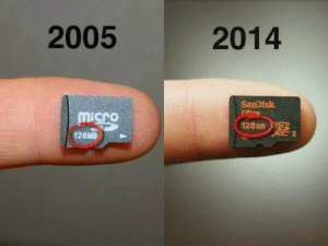 """Target, Tumblr, and Apollo: 2005  2014  micro  1280B  128MB cannibaliza: camwyn:  cookienun:  iraffiruse:  Technology then and now  at first i thought it was the same number then I noticed it said GB and damn  As one of the tech review magazines said a few years ago when the first 32GB micro SD cards came out, """"At last it is possible for a single human being to accidentally swallow all of the data collected by the Apollo Program.""""  now that is a review"""