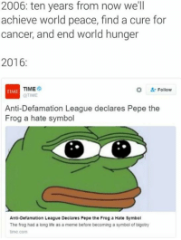 Hate Symbol: 2006: ten years from now we'll  achieve world peace, find a cure for  cancer, and end world hunger  2016  TIME  Follow  TIME  @TIME  Anti-Defamation League declares Pepe the  Frog a hate symbol  Anti-Defamation League Declares Pepe the Frog a Hate Symbol  The frog had a long life as a meme before becoming a symbol of bigotry  time com