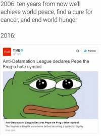 Hate Symbol: 2006: ten years from now we'll  achieve world peace, find a cure for  cancer, and end world hunger  2016  TIME  Follow  TIME  @TIME  Anti-Defamation League declares Pepe the  Frog a hate symbol  Anti-Defamation League Declares Pepe the Frog a Hate Symbol  The frog had a long life as a meme before becoming a symbol of bigotry  time.com