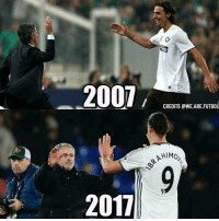 Memes, 🤖, and Mourinho: 2007  2017  ILLI  CREDITS AWE ARE FUTBOL Zlatan and Mourinho 😱🔥 Tag your friends 👥