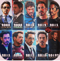 The untitled AVENGERS 4 will mark Tony Stark's 10th appearance in the Marvel Cinematic Universe.  (Andrew Gifford): 20082008 2010 2o12 2013  2015 200 2017 2018 2019? The untitled AVENGERS 4 will mark Tony Stark's 10th appearance in the Marvel Cinematic Universe.  (Andrew Gifford)