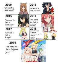 """Fuck: 2009  We need to  fuck a wolf""""  2013  We need to  fuck fashion  2015  2016  """"We need  """"We need to  fuck a  battleship""""  to fuck a  snake  2018  2017  We need to  fuck a  dragon  We need to fuck  a dinosaur  our immune system  Bowser  zombies  Shera L. Greenwood  2019  """"We need to  fuck fighter  jets"""""""