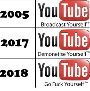 "youtube.com, Fuck, and Tube: 200s  You  Tube  Broadcast Yourself  2017 YouTube  Tube  TM  Demonetise Yourself""  2018 You  Tube  TM  Go Fuck Yourself Youtube"