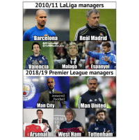 Barcelona, Football, and Memes: 2010/11 LaLiga managers  Barcelona  Real Madrid  OO TrollFootball  TheTrollFootball Insta  Jo  ValenciaMalagaEspanyol  2018/19 Premier League managers  instatroll  football  ITY  Man City  Man United  HAM  ED  MP  EArsenalWest Ham Tottenham EPL hired all the good ones! ⚽️👏 Managers LaLiga PremierLeague Switch
