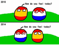 2010  2014  How do you feel today?  How do you feel today? How the Netherlands are feeling after beating Spain in the 2014 FIFA World Cup. Credits to Taiwanball. -Gujjar Sahab
