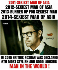 Rithik Roshan :): 2011-SEXIEST MAN OF ASIA  2012-SEXIEST MAN OF ASIA  2013-RUNNER UP FOR SEXIEST MAN  2014-SEXIEST MAN OF ASIA  SOHAIL  BOX OFFICE REPORT  IN 2015 HRITHIK ROSHAN WAS DECLARED  6TH MOST STYLISH AND GOOD LOOKING  MAN IN THE WORLD! Rithik Roshan :)