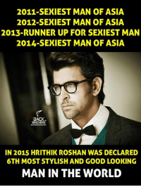 hrithik roshan: 2011- SEXIEST MAN OF ASIA  2012 SEXIEST MAN OF ASIA  2013-RUNNER UP FOR SEXIEST MAN  2014- SEXIEST MAN OF ASIA  BACK  IN 2015 HRITHIK ROSHAN WAS DECLARED  6TH MOST STYLISH AND GOOD LOOKING  MAN IN THE WORLD